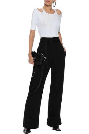 ANN DEMEULEMEESTER Satin-trimmed wool and cotton-blend twill wide-leg pants