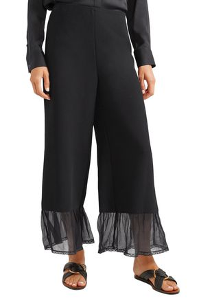 SEE BY CHLOÉ Silk chiffon-trimmed crepe wide-leg pants