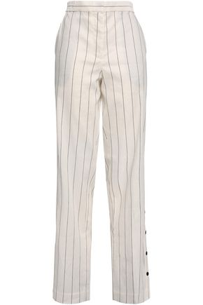 TIBI Button-detailed striped slub linen-blend wide-leg pants