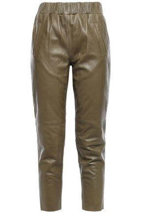 STAND STUDIO Cropped leather slim-leg pants