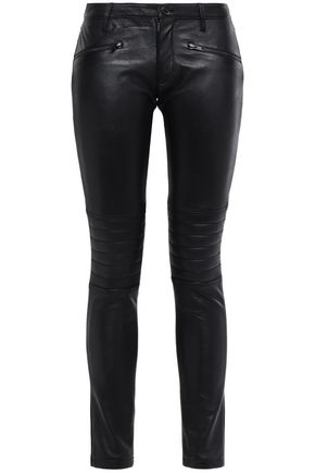 STAND STUDIO Sign jersey-paneled leather skinny pants