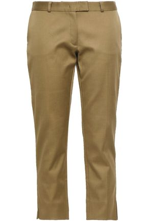 JOSEPH Bing Court cropped stretch-cotton slim-leg pants