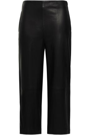 VINCE. Cropped leather wide-leg pants