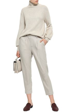 VINCE. Cropped stretch-wool jersey tapered pants