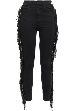 MOTHER Fringed high-rise skinny jeans