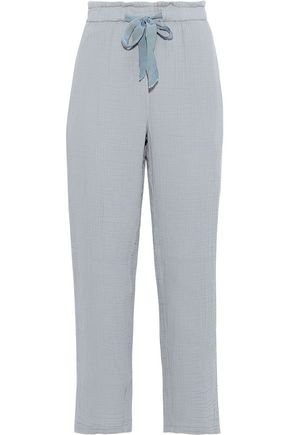 RAQUEL ALLEGRA Cropped crinkled cotton-gauze straight-leg pants