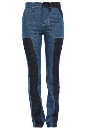 CHLOÉ Two-tone high-rise slim-leg jeans
