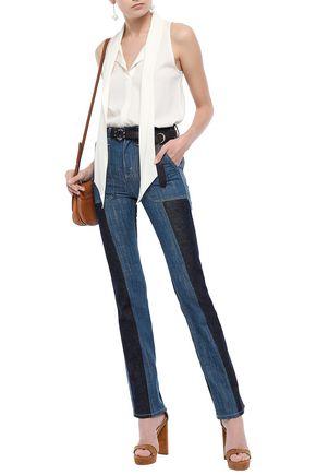 CHLOÉ Two-tone high-rise slim-leg jeans