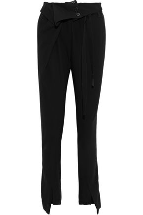 ANN DEMEULEMEESTER Belted button-detailed crepe slim-leg pants