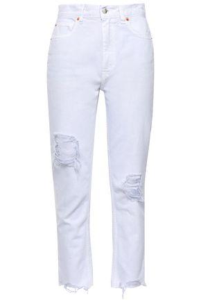 27f8290a IRO Edwin cropped distressed high-rise straight-leg jeans