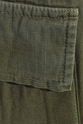 ANINE BING Military cropped cotton-jacquard tapered pants