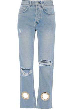 ANINE BING Giovanna eyelet-embellished distressed high-rise straight-leg jeans