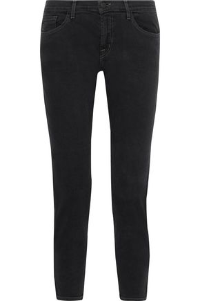 J BRAND Cropped faded mid-rise slim-leg jeans