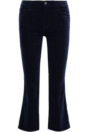 J BRAND Selena cotton-blend velvet kick-flare pants