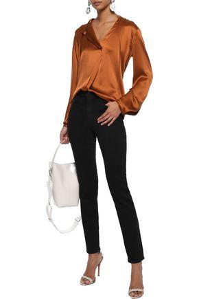 J Brand Woman Ruby Glittered High-Rise Skinny Jeans Black
