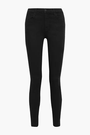 J BRAND Maria metallic-trimmed high-rise skinny jeans