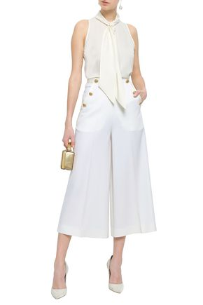 LANVIN Button-embellished wool-blend twill culottes