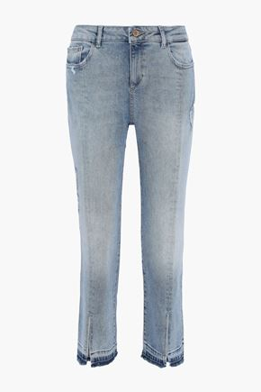 DL1961 Mara cropped distressed mid-rise kick-flare jeans