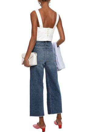 DL1961 Ashford cropped faded high-rise wide-leg jeans