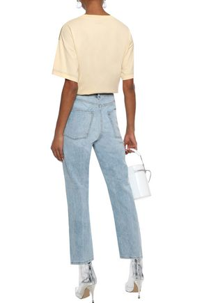 DL1961 Susie cropped distressed high-rise straight-leg jeans