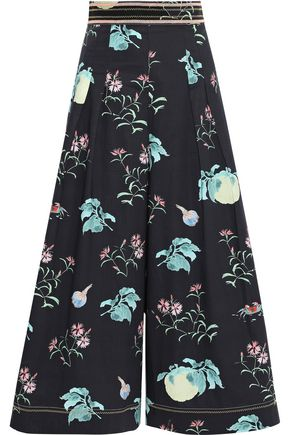 PETER PILOTTO Pleated floral-print cotton-poplin culottes