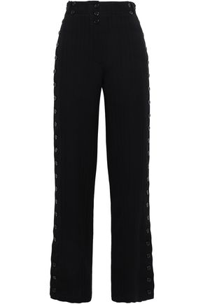 ANN DEMEULEMEESTER Button-detailed herringbone wool-blend wide-leg pants