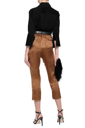 ANN DEMEULEMEESTER Crushed satin tapered pants
