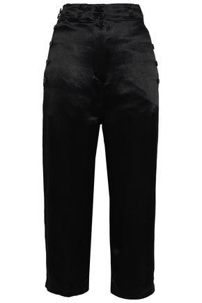 ANN DEMEULEMEESTER Rosetti button-embellished cropped satin straight-leg pants