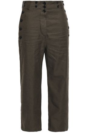 ANN DEMEULEMEESTER Button-detailed brushed cotton and linen-blend straight-leg pants