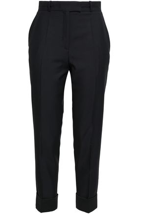 RACIL Cropped satin-trimmed wool and mohair-blend slim-leg pants