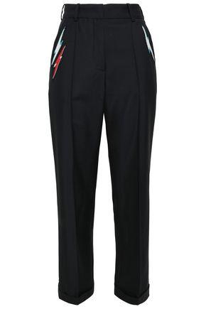 RACIL Appliquéd wool and mohair-blend straight-leg pants