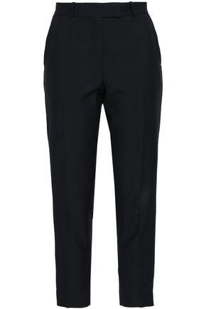RACIL Satin-trimmed wool and mohair-blend slim-leg pants