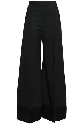 RACIL Satin-trimmed wool wide-leg pants