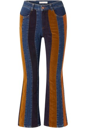 SEE BY CHLOÉ Corduroy and denim-paneled high-rise flared jeans
