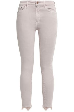 MOTHER Lace-trimmed mid-rise skinny jeans