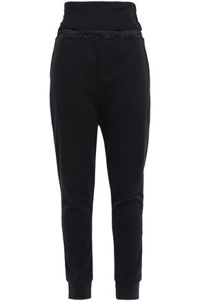 ANN DEMEULEMEESTER Grimm satin-trimmed French cotton-terry track pants