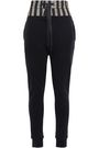 ANN DEMEULEMEESTER Satin-paneled French cotton-terry track pants