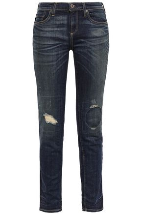 SIMON MILLER Bryce distressed mid-rise slim-leg jeans