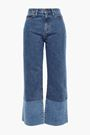 SIMON MILLER Frayed two-tone high-rise wide-leg jeans