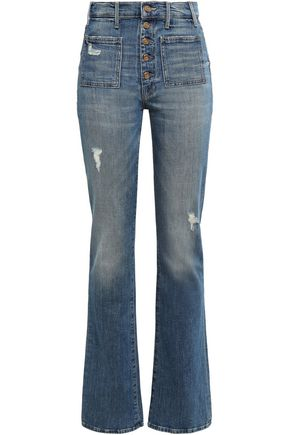 MOTHER Distressed faded high-rise flared jeans
