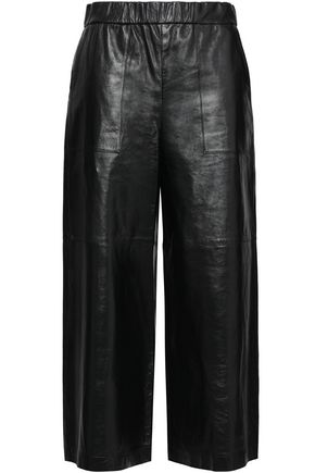 THEORY Cropped leather wide-leg pants