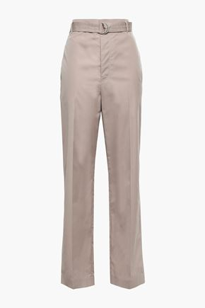 JOSEPH Bird belted cotton straight-leg pants