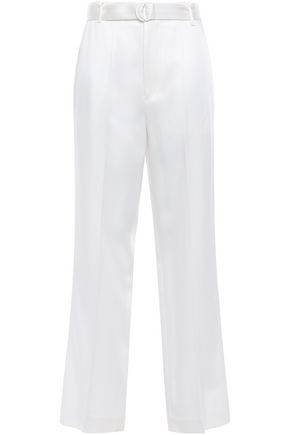 JOSEPH Bird belted satin wide-leg pants