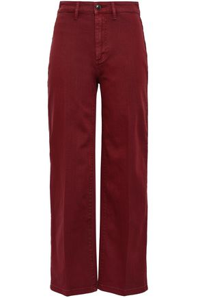 VINCE. Cropped high-rise wide-leg jeans