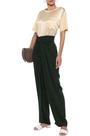 SEA Solange smocked silk wide-leg pants