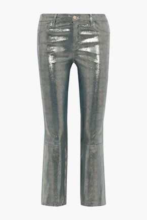 J BRAND Selena metallic snake-print leather kick-flare pants