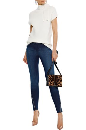 J BRAND 620 zip-detailed faded mid-rise skinny jeans