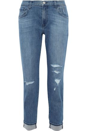 J BRAND Johnny cropped distressed boyfriend jeans