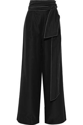 RACHEL GILBERT Cher belted cotton and silk-blend wide-leg pants