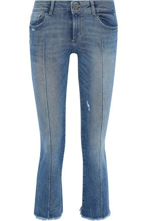 DL1961 Lara cropped distressed mid-rise kick-flare jeans